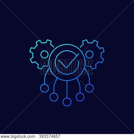 Execution Icon With Gears, Linear, Eps 10 File, Easy To Edit