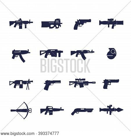 Guns And Weapons Icons, Rifles, Pistols, Submachine Guns, Eps 10 File, Easy To Edit