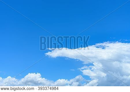 Beautiful Blue Sky With White Clouds In The Noon Time Horizontal Composition
