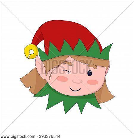 Vector Illustration: Cute Christmas Elf Girl Winks. Santas Helper.