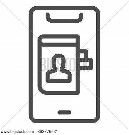 Phonebook In Smartphone Line Icon, Smartphone Review Concept, Contacts In Mobile Sign On White Backg