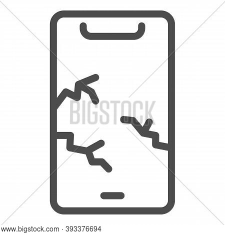 Cracked Phone Line Icon, Smartphone Review Concept, Broken Screen Sign On White Background, Fissure