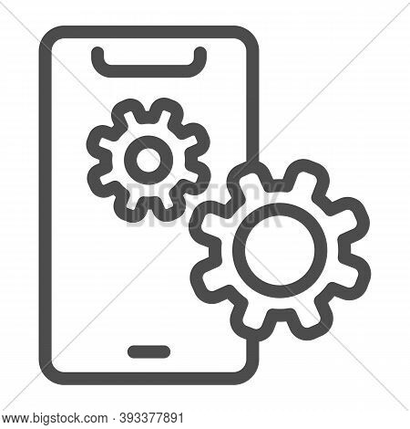 Smartphone Setting Line Icon, Smartphone Review Concept, Phone Screen With Gear Image Sign On White