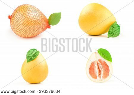 Collection Of Pompelmoes Over A White Background