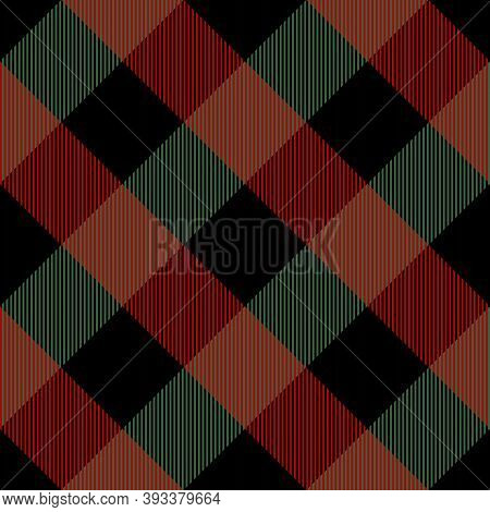 Diagonal Tartan Christmas And New Year Plaid. Scottish Pattern In Red, Green And Black Cage. Scottis