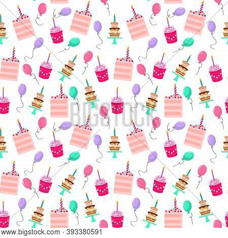 Pattern With Cupcakes, Cakes, Sweets And Balloons For Birthdays Or Other Holidays. Vector Illustrati