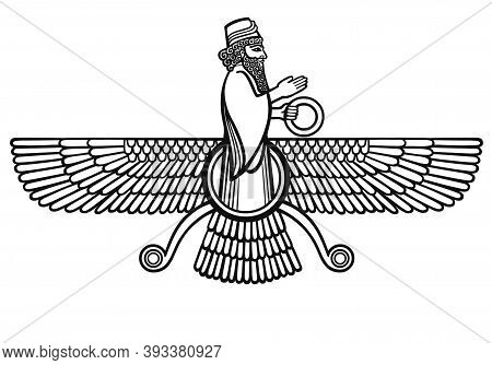 Persian Farvahar Silhouette. Isolated On A White Background.