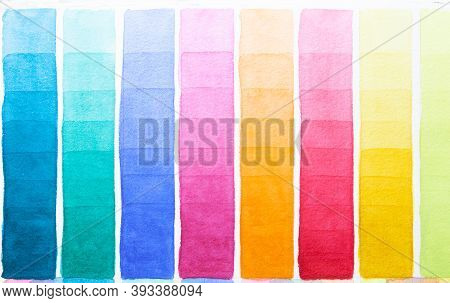 Palette Of Shades Watercolors Different Colors Painted On White Paper. Sample Of Paint Spectrum. Dra