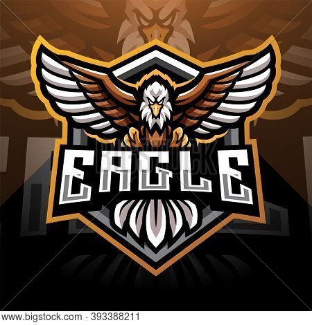 Eagle Esport Mascot Logo Design With Text