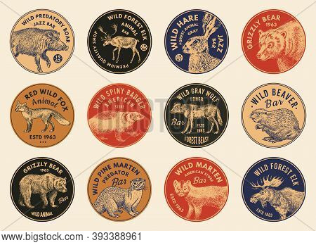 Wild Animals Stickers In Vintage Style. Forest Deer Beaver Elk Wolf Bear Fox Marten Badger Boar Hare