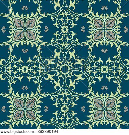 Vintage floral ornament seamless pattern background