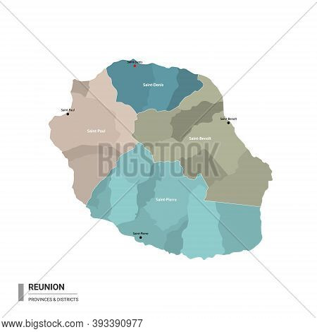 Reunion Higt Detailed Map With Subdivisions. Administrative Map Of Reunion With Districts And Cities