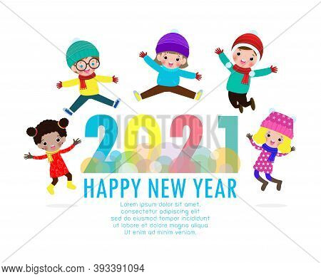 Happy New Year 2021 Greeting Card With Group Kids Wearing Winter Hats And Jumping, Happy Children Wi