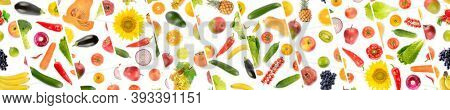 Panorama of collections useful vegetables and fruits separated by oblique lines on white background.