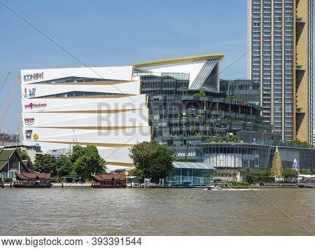 Bangkok, Thailand - October 24, 2020: Chao Praya River In Bangkok With Icon Siam Shopping Mall And R