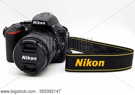 Bologna / Italy - November 11, 2020: Nikon D5600 Isolated On White Background. Studio Shot.