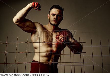 Prison For Monster. Psycho Mad Man. Murderer Mythical Creature. Muscular Man Nude Torso Soiled Blood