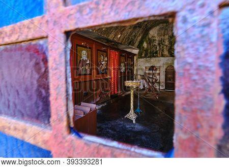 Interior Of Orthodox Cave Church Of St John The Hermit In Abandoned Katholiko Monastery, Crete, Gree