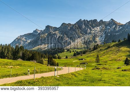 The Schwaegalp Mountain Pass Road With View Of The Alpstein Massif And Saentis, Canton St. Gallen, S