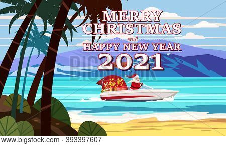 Merry Christmas Santa Claus On Speed Boat On Ocean Sea Tropical Island Palms Mountains Seaside Deliv