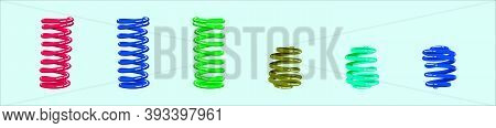 Set Of Coil Spring. Modern Icon Design Template With Various Models. Vector Illustration Isolated On