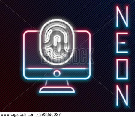 Glowing Neon Line Monitor With Fingerprint Icon Isolated On Black Background. Id App Icon. Identific