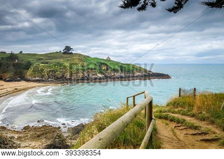 Cove And Beach Landscape In Pleneuf Val Andre, Brittany, France