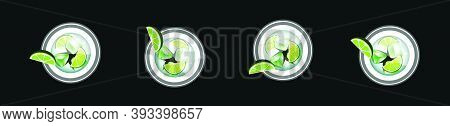 Set Of Lime Drink In A Glass. Modern Cartoon Icon Design Template With Various Models. Vector Illust
