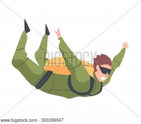 Skydiver Enjoying Freefall Freedom, Happy Person Jumping In Sky, Skydiving Parachuting Extreme Sport