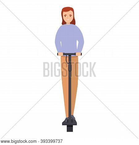 Summer Girl On Electric Scooter Icon. Cartoon Of Summer Girl On Electric Scooter Vector Icon For Web