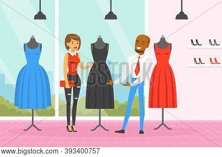 Woman Sewing Clothes At Tailor, Man Dressmaker Making Dress Cartoon Vector Illustration