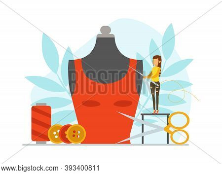 Tiny Seamstress Sewing Fashionable Clothes On Big Mannequin, Dressmaker Creating New Dress Cartoon V