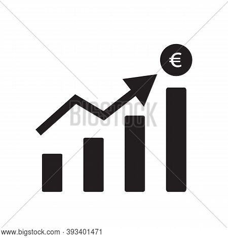 Increase Euro Currency Chart On White Background. Flat Style. Increase Money Growth Sign. Euro Rate