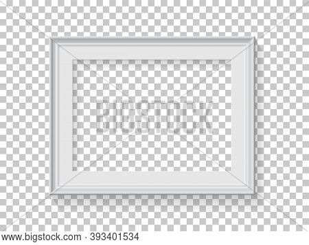 White Frame For Picture On Transparent Background. Blank Horizontal Space For Picture, Painting, Car