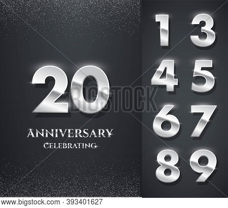 Silver Anniversary Logo With Numbers Template. 20th Birthday, Jubilee Or Wedding Anniversary Vector