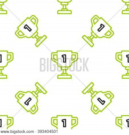 Line Award Cup Icon Isolated Seamless Pattern On White Background. Winner Trophy Symbol. Championshi