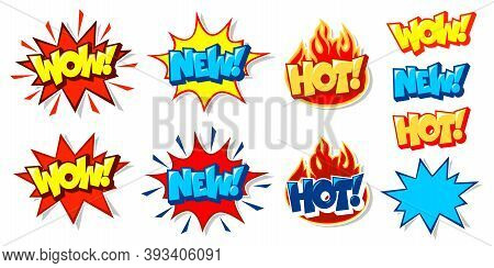 Words Hot Wow New Sale Price Offer Deal Vector Labels Templates