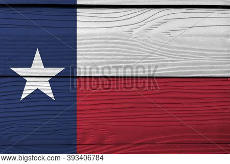 Flag Of Texas On Wooden Plate Background. Grunge Texas Flag Texture, Blue Containing A Single White
