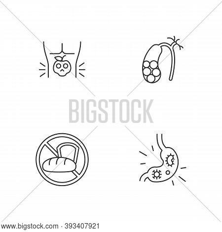 Discomfort In Abdomen Linear Icons Set. Food Poisoning. Gallstones. Gluten Intolerance. Stomach Viru
