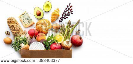 Proper Nutrition. Healthy Eating. Healthy Food Paper Bag. Healthy Food Background. Supermarket Food