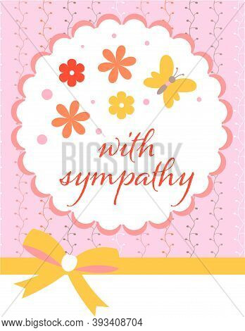 Design Template For Cute Sympathy Card . Template For Scrapbooking With Hand Drawn Doodle Patterns.