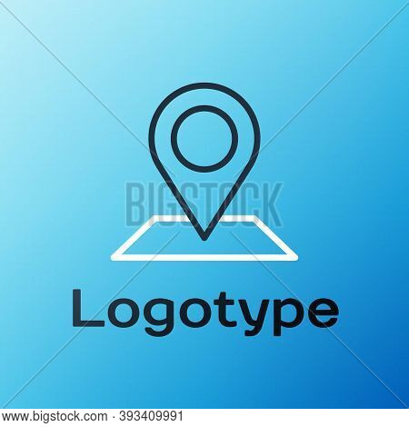 Line Map Pin Icon Isolated On Blue Background. Navigation, Pointer, Location, Map, Gps, Direction, P