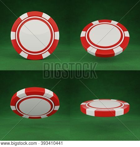 Casino Chips Isolated On Green Poker Table Background. Green Poker Chips In Different Position. 3d R