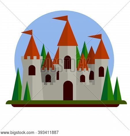 Fairytale Castle. Medieval Old Town. Stone Walls And Towers. Fort For Protection. Flat Cartoon Illus