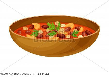 Stewed Beans With Chickpea And Carrot As Egyptian Dish Vector Illustration