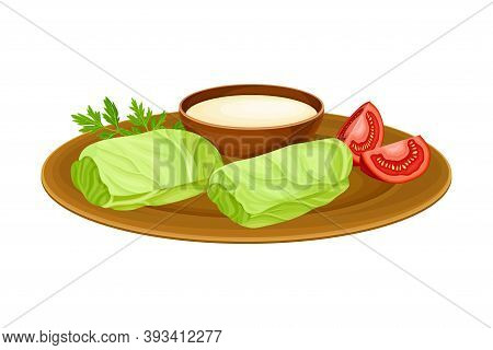 Dolma Or Meat Stuffing Wrapped In Cabbage Leaves With Sauce As Egyptian Dish Vector Illustration