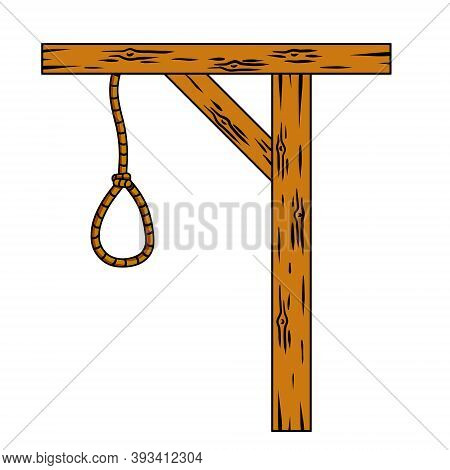 Gallows. Rope With A Noose. Cartoon Illustration. Wooden Structure For Execution. Medieval Justice.