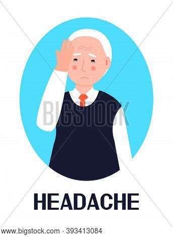Headache Icon Vector. Flu, Cold, Symptom Is Shown. Senior Man Put Her Hand To Her Forehead. Respirat