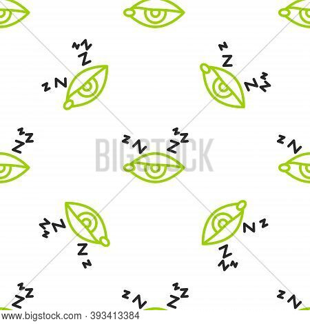 Line Insomnia Icon Isolated Seamless Pattern On White Background. Sleep Disorder With Capillaries An