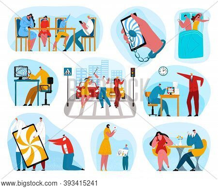 Digital Phone Addiction Set Of Vector Illustrations. People Social Addicts On Mobile Phone. Young Ad